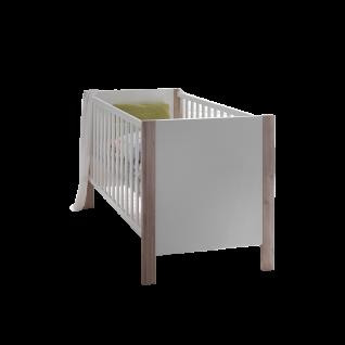 Mäusbacher Letizia Babybett BB mit Liegefläche ca. 70 x 140 cm und Seitenteilen mit breiten Sprossen für Ihr Babyzimmer und Kinderzimmer im Dekor Weiß matt Lack mit Absetzungen in Appenzeller Fichte hell Nachbildung