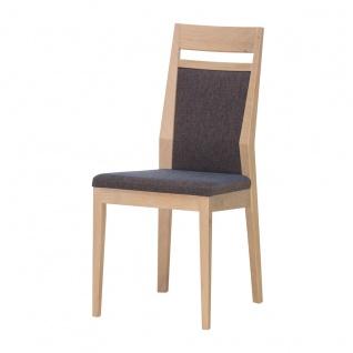 DKK Klose S34 Stuhl 3392 ohne Armlehnen mit gepolsterter Rückenlehne inkl Griff und gepolstertem Sitz Polsterstuhl für Esszimmer Gestell in Massivholz Ausführung Sitzkomfort und Bezug wählbar