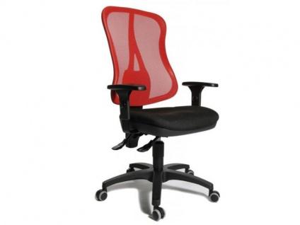 TopStar Linea 25 Drehstuhl Komfort höhenverstellbar Rückenlehne Netz rot Sitz schwarz