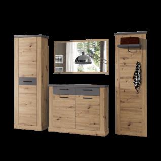 Forte Duro Garderobe DURD02 4-teilig mit Kleiderschrank Schuhschrank Kleiderpaneel und Spiegel Dekor Artisan Eiche mit Absetzung Uni Wolfram Grau