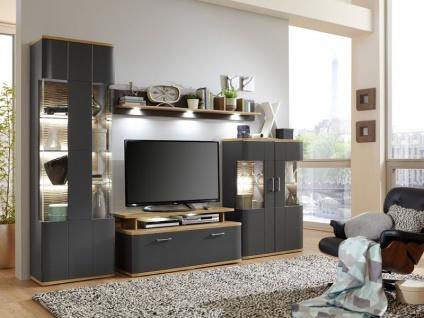 IDEAL-Möbel Wohnwand Paris I Kombination 29 mit Vitrine Hängevitrine und TV-Element Anbauwand für Wohnzimmer Ausführung in weiß oder graphit wählbar