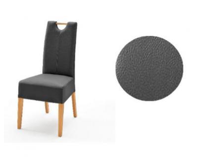 MCA Direkt Stuhl Elida grau Lederlook 2er Set Polsterstuhl für Wohnzimmer und Esszimmer Ausführung 4 Fuß Massivholzgestell und Griff wählbar