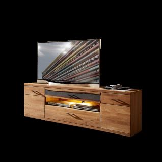 Wohn-Concept Crusty I TV-Unterteil 45 18 HH 32 Lowboard mit zwei Türen zwei Schubkästen und einem offenen Fach TV-Unterschrank in Wildeiche teilmassiv mit Absetzung in Steinoptik mit Baumrinde für Ihr Wohnzimmer Beleuchtung wählbar