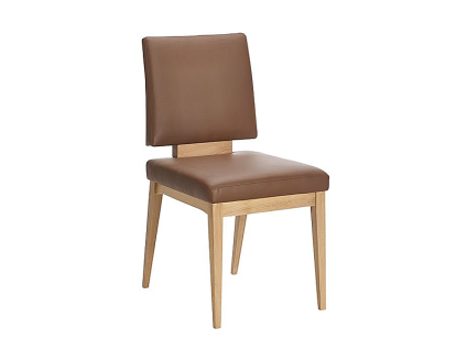 Schösswender Kansas Stuhl Modell 300 Vierfußstuhl mit Polsterlehne und Gestell und Holzapplikation aus Massivholz für Esszimmer Polsterstuhl ohne Armlehne mit wählbarer Holzausführung und wählbarem Bezug