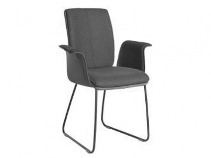 Bert Plantagie Stuhl Tara Schlitten Komfort 831C mit Uni-Mattenpolsterung und geschlossenen gepolsterten Armlehnen Stuhl für Esszimmer Esszimmerstuhl mit Schlittengestell Gestellausführung und Bezug in Leder oder Stoff wählbar