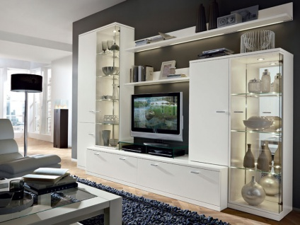 RMW Rietberger Cremona Wohnwand Manhattan 8-teilig Vorschlagskombination V21218 Front / Korpus Beleuchtung und TV-Podest wählbar