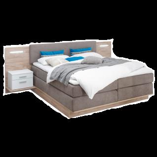 Schlafkontor Malibu Boxspringbett mit zwei Paneel Nachtkommoden inkl. LED-Beleuchtung Liegefläche ca. 180x200 cm