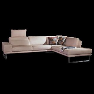K+W Polstermöbel Ecksofa Melody 7266 mit Sitztiefenverstellung und einem Echtlederbezug Bronco in der Farbe nebel 34