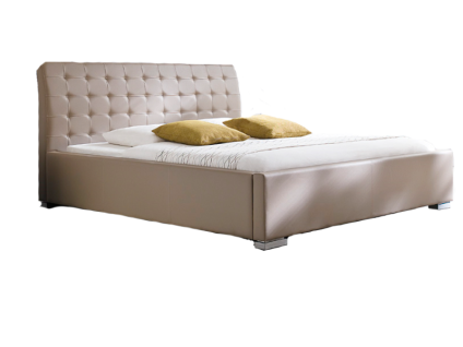 Meise Möbel ISA-COMFORT Polsterbett mit Kunstlederbezug in muddy schwarz braun oder weiß mit gestepptem Kopfteil und Metallfüßen Liegefläche wählbar