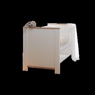 Mäusbacher Adele Babybett 0444-BH mit Liegefläche ca. 70 x 140 cm und Seitenteilen mit breiten Sprossen inkl. verstellbarem Lattenrost Bett für Ihr Babyzimmer und Kinderzimmer im Dekor Weiß matt Lack mit Absetzungen in Asteiche Nachbildung
