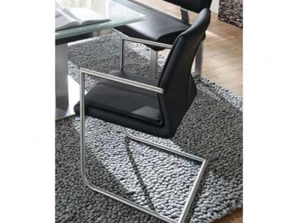 MWA Aktuell Stuhl Como in Kunstleder black II Gestell CA22 Sitzschale PC Polsterstuhl mit Armlehnen für Esszimmer Küche oder Partyraum
