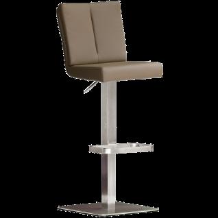 MCA furniture bar.be.cool Barhocker Bruni Art.Nr. BREE10CX Bezug Kunstleder Cappuccino Gestell Edelstahl gebürstet höhenverstellbar drehbar