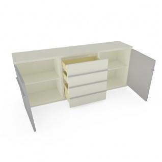 Loddenkemper Kito Sideboard 7432 in Lack Weiß und Lack Soft Grau mit zwei Türen und drei Schubkästen Kommode für Ihr Wohnzimmer oder Esszimmer - Vorschau 3