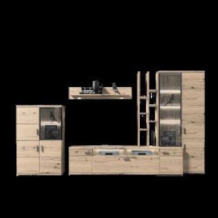 IDEAL-Möbel Brilon Kombination 101 fünfteilige Wohnkombination mit Fronten in Alteiche Lamelle Massivholz geölt Wohnwand mit TV-Unterteil Regalaufsatz Vitrine und Highboard für Wohnzimmer Beleuchtung wählbar