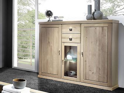 Schröder Cottage Highboard 3732 teilmassive Anrichte in Asteiche Kommode für Wohnzimmer und Esszimmer Beleuchtung wählbar