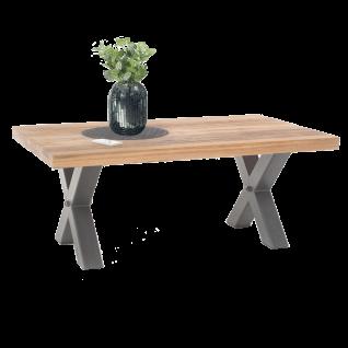 MCA furniture Couchtisch Andro 58870EIW Tischplatte aus Massivholz Wildeiche geölt X-Gestell Metall für Ihr Wohnzimmer