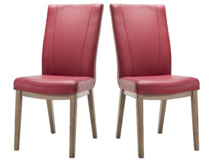 Habufa Sono Stuhl im 2er Set mit Vierfuß-Holz-Gestell für Ihr Esszimmer Polsterstuhl mit wählbarem Echtlederbezug und mit wählbarer Holzausführung Handgriff an der Rückenlehne wählbar