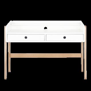 Möbilia Schreibtisch mit Schubladen für Kinder- und Jugendzimmer Tisch weiß/natur höhenverstellbar