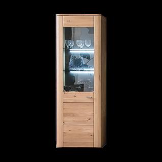 MCA Furniture Buffalo BUF52T10 Vitrine L für Ihr Wohnzimmer Front Balkeneiche Bianco Korpus Eiche Bianco Melamin Nachbildung