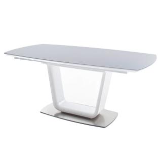 MCA furniture Säulentisch Xander XA18HW_GG mit Synchronauszug Bootsförmig MDF Hochglanz weiß lackiert für Esszimmer und Wohnbereich