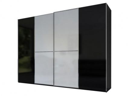 Rauch Black Linea Concept 20up Schwebetürenschrank Front 1A Korpus Schwarz matt Front Weiß matt Griffleisten aluminiumfarben Schrankbreite ca 300 cm