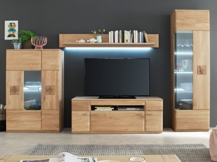 MCA furniture Wohnwand Bologna Wohnkombination 11, 4-teilig, bestehend aus Vitrine, Highboard, TV-Element und Wandboard, Front aus Massivholz Eiche mit Hirnholz Applikationen, Beleuchtung wählbar