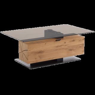 Hartmann Caya Couchtisch 0481 mit Glasplatte in parsolbronze einem Hirnholzblock in Kerneiche Umato Massivholz gebürstet mit Klappe und Bodenplatte in Holz anthrazit für Ihr Wohnzimmer
