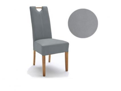 MCA Direkt Stuhl Elida eisgrau Strukturoptik 2er Set Polsterstuhl für Wohnzimmer und Esszimmer Ausführung 4 Fuß Massivholzgestell und Griff wählbar