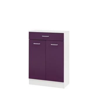 W.Schildmeyer Badmöbel Lorenz Unterschrank U600 mit zwei Türen und einem Schubkasten für Badezimmer Korpus Perlweiß Front wählbar - Vorschau 2