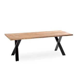 Niehoff Garden Xenio Gartentisch G763 mit Massivholztischplatte in Teak gebürstet ca. 220 x 95 cm mit Baumkante und mit X-Füßen in Aluminium Anthrazit für Ihren Garten