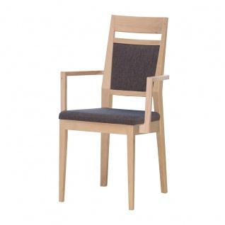 DKK Klose S34 Sessel 3395 mit Armlehnen mit gepolsterter Rückenlehne inkl Griff und gepolstertem Sitz Polsterstuhl für Esszimmer Gestell in Massivholz Ausführung Sitzkomfort und Bezug wählbar