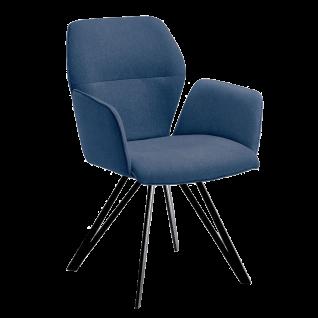 Niehoff Armlehnenstuhl Merlot 1132 Designerstuhl Bezug blau Stativgestell aus Eisen schwarz Esszimmerstuhl