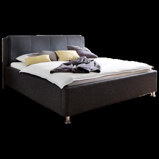 Meise Möbel Polsterbett El Paso mit Stoffbezug Culture in anthrazit inklusive Bettkasten und Lattenrost Kopfteil mit Kissenüberzug Metallfüsse in Chromoptik Liegefläche wählbar