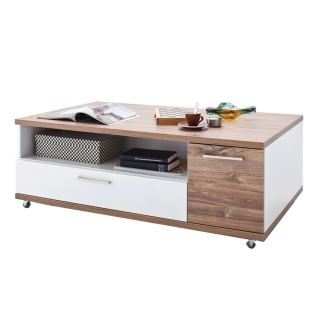 MCA Furniture Luzern LUZ93T65 Couchtisch für Ihr Esszimmer Hochglanz weiß tiefzieh Nachbildung mit Absetzung Sterling Oak