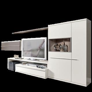 Loddenkemper Kito Wohnwand 9895 in Lack Weiß mit Absetzung in Lack Soft Grau 5-teilig mit Unterteil mit TV-Bank Highboard Hängeschrank und Highboard