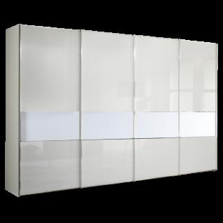 Staud Sinfonie Plus Panorama-Schwebetürenschrank Ausführung 103D Korpus in Dekor und Front vollverglast mit Mittelband Dekor wählbar mit 4 Zierleisten waagerecht je Tür