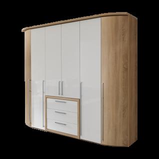 Nolte Möbel Columbus 6-türige Drehtürenschrank-Kombination mit Rundelementen außen und 3 Schubkästen Mitteltüren und Schubkastenfronten in Polarweiß Außentüren Korpus und Schubkasteneinrahmung in Sonoma-Eiche-Nachbildung mit Bicolor-Stangengriffen in alu-