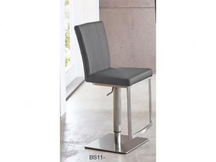 Niehoff Barstuhl BS11-02 mit Lift Funktion Gestell Edelstahl gebürstet Bodenplatte viereckig Barstuhl für Küche oder Partyraum Bezug in Kunstleder oder Microfaser wählbar
