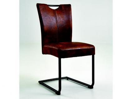 Niehoff Schwingstuhl 6321 passend zu Scarlett Stuhl für Esszimmer Esszimmerstuhl mit Griff und Gestell Roheisen geschwärzt Bezug wählbar