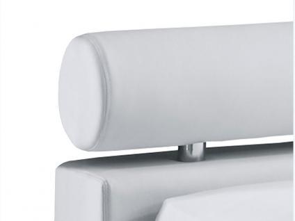 Meise Möbel ANELLO Polsterbett mit Kunstlederbezug in weiß schwarz oder braun Kopfteil mit Kopfteilrolle Metallfüße in Chromoptik Liegefläche wählbar - Vorschau 5