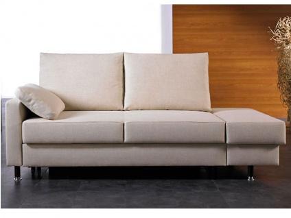 Bali Flexa Schlafsofa funktionales Bettsofa mit Schlaffunktion ideal auch für Ferienwohnung Bettsofa mit Recamierenhocker rechts Liegefläche und Bezug in Stoff oder Leder wählbar