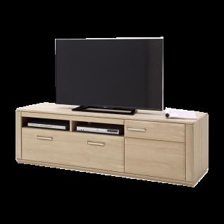 MCA furniture Sena TV-Element Front in Eiche Bianco Massivholz geölt mit durchgehenden Lamellen Korpus Eiche Bianco furniert geölt Art.Nr. EB200T36