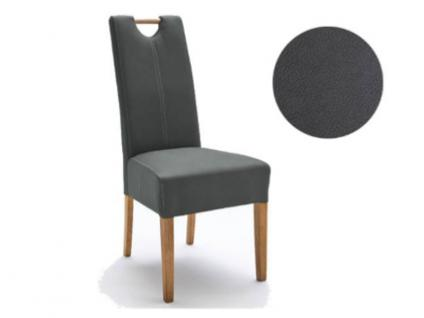 MCA Direkt Stuhl Elida dunkelgrau Strukturoptik 2er Set Polsterstuhl für Wohnzimmer und Esszimmer Ausführung 4 Fuß Massivholzgestell und Griff wählbar