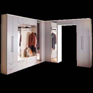 Wittenbreder Come In Garderobenkombination Nr. 07 komplette Garderobe für Ihren Flur und Eingangsbereich 12-teilige Vorschlagskombination in Magnolie Lack und Graubeige Lack mit Standardgriff matt Metallteile in matt