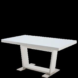 MCA Furniture Auszugstisch Manhattan 0216HWGW in Hochglanz weiß mit Tischplatte in Sicherheitsglas reinweiß lackiert und Bodenplatten in Edelstahl poliert ideal für Ihr Wohnzimmer oder Esszimmer