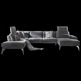K+W Polstermöbel Wohnlandschaft Melody 7266 in U-Form inklusive Sitztiefenverstellung und zwei Kopfstützen mit einem verchromten Blitzfuß - Vorschau 1