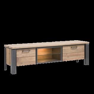 Habufa Charleston TV-Board 36183 Sideboard mit Beleuchtung ca. 180 cm Kikar teilmassiv Metallgestell anthrazit