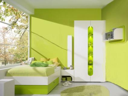 Rudolf Möbel Max-i Jugendzimmer Maxi 4-teilig bestehend aus Bett Element mit Einsatz Paneelregal Container in Alpinweiß