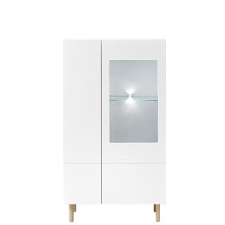 Innostyle Wohnen Vitrine K2 Front weiß MDF lackiert Korpus weiß matt Art.Nr. 10G79915 für Ihr Wohnzimmer inklusive LED-Beleuchtung
