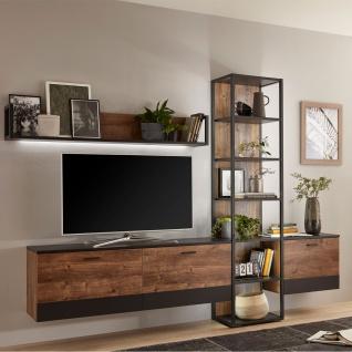 Ideal-Möbel Bacoor Wohnkombination 11 mit Regal Wandboard und zwei Hängelowboards Dekor Eiche Ribbeck Cognac und Cosmos Grey Melamin mit Stahlprofilen - Vorschau 3